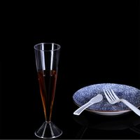 Wholesale plastic goblets - New Thickened Disposable Champagne Cups Transparent Goblet Wine Standing Cup Plastic Pokal Environmental Non Toxic Banquet Tallboy 1hs R