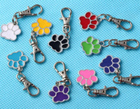 Wholesale Keychain Rings Black - Enamel CAT DOG Palm PAW PRINT Keychain Vintage Silver For Keys Car key Chains Brand Gifts Handbag Couple Key Ring Bag 50PCS HOT