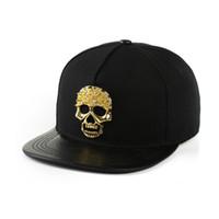 erkekler düz şapka şapkaları toptan satış-Erkekler Boy Kafatası Snapback Hip-Hop Tuval Şapka Metal Zincir Iskelet Beyzbol Şapkası Ayarlanabilir Düz Ağız Dans Sokak Serin Şapka