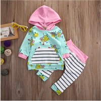 Wholesale Baby Floral Harem Pants - Girls Floral Striped Outfits Toddler Hooded Flower Tops with Harem pants 2017 Newborn Baby Fashion Sets baby clothing