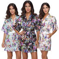 Wholesale Womens Floral Silk Robe - 2017 womens satin silk floral Robe Ladies Pajama Lingerie Sleepwear Kimono Bath Gown pjs Nightgown #4004