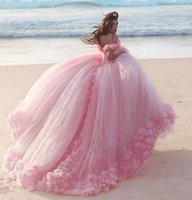 Wholesale Quinceanera Dress Hot Pink - 2018 Quinceanera Dresses Baby Pink Ball Gowns Off the Shoulder Corset Hot Selling Sweet 16 Prom Dresses with Hand Made Flowers