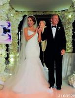 Wholesale Mermaid Celebrity Wedding Gown - Celebrity Vestidos de Noiva 2017 Wedding Dresses Mermaid Backless Lace Appliques Chapel Train Plus Size Bridal Gowns Cheap