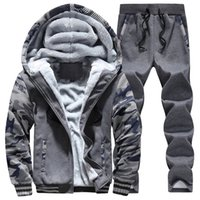 Wholesale Wool Fleece Pants - Wholesale-New Winter Mens Sweat Suits Brand Mens Tracksuit Sets Fleece Zipper Hooded Jacket + Pants Sporting Suit Camouflage Sleeve Hoody