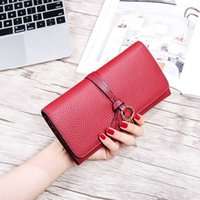 Wholesale Brown Female Leather Wallet - Caroris new brand Women Wallet long Genuine Leather Female Purse head layer of cowhide wallets lady card pack fashion hand bag wholesale
