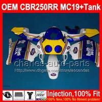 Wholesale Oem Fairings - OEM+Tank For HONDA CBR250RR MC19 86 87 Rothmans Blue 88 89 CBR250 RR 9L38 CBR 250RR CBR 250 RR blue yellow 1986 1987 1988 1989 Fairing kit