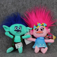 Hot Sale 2 Style 23cm Films Cartoon Peluche Poppy Branch Trolls Peluche en peluche pour bébé Best Gifts