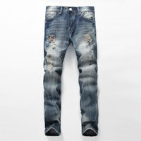 Wholesale Punk Rock Pants Zippers - Wholesale- Fashion kanye west punk rock ripped jeans for men vintage slim moto biker jeans homme mens justin bieber distressed denim pants