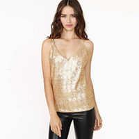 Wholesale Sequin Camisoles - Women Summer Sequin Top Sexy Slim Backless Vest Gold Metallic Party Club Tank Top Plus Size Crop Top Female Upper Camisole XXL