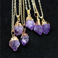 Wholesale Gold Teeth Styles - Natural purple crystal pendant Hot style gold-plated copper serging amethyst crystal clusters Purple ShuiJingJing tooth necklace