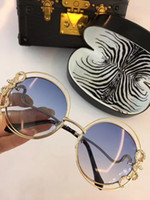 Wholesale Printed Sunglasses - RC1025 Women Brand Designer Roberto Dark Brown Snake Print Gold Brown Luxury Sunglasses UV Protection Round Big Frame Come With Case