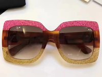 Wholesale Glitter Glasses Frames - Luxury Oversize glittered square-frame 0083S Sunglasses Brown Gradient Len Women Fashion Designer Sunglasses Brand New with Case