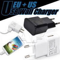 Wholesale Galaxy Wall Charger 1a Eu - Wall Charger EU US Plug Samsung N7100 Adaptive Fast Rapid 2A 1A Home Wall Chargers For Galaxy S7 S7 Edge S8 Plus C9Pro