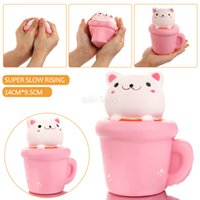 Wholesale Squeeze Cup - 2017 New Arrival 14CM Jumbo Squishy Kawaii Cup Cat Pussy Squeeze Cute Animal Slow Rising Scented Bread Cake Kid Toy Gift Doll