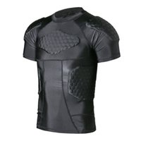 Wholesale TUOY Men s Boys Safe Guard Padded Compression T shirt Protective Short Sleeve Shirt Rib Chest Shouder Protector Suit for Paintball Football