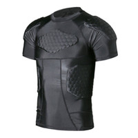 Wholesale Safe Suits - TUOY Men's Boys Safe Guard Padded Compression T-shirt Protective Short Sleeve Shirt Rib Chest Shouder Protector Suit for Paintball Football