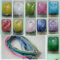 Wholesale Waxed Cord Ribbon Necklace - The 11 colors Chiffon ribbon cotton wax rope Necklace rope DIY jewelry accessory Necklace accessories CA527