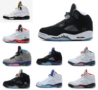 Wholesale Space Beans - with box 2016 air retro 5 men basketball Shoes OG Black Metallic Olympic Metallic Gold space jam Green Bean Mark Ballas 23 Fire Red Sneakers