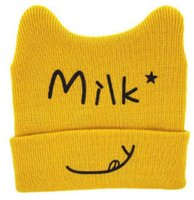 Wholesale Only Beanies - 1USD Payment link only 1pcs=1USD Moeble Cartoon Cat Ear Toddler Hats Winter Milk Baby Caps Warm Knitted Newborn Hats Infant Beanies