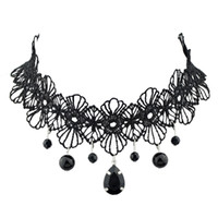 Wholesale Lace Choker Necklace Black Beads - New Design Black Lace Flower Pattern Tattoo Choker Necklaces with Beads Charms Pendants for Women