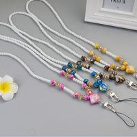 Wholesale diy neck lanyards - Stone pattern lanyard mobile phone hanging rope work card chain diy luxury beaded cell phone neck strap lanyard free DHL