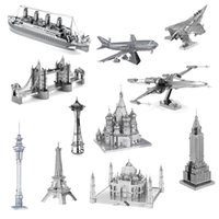 Wholesale Plane Toys For Adults - Wholesale 3D Metal Model Puzzles 3D Stereo METAL Jigsaw Puzzle DIY Building Plane Animals Car Educational Puzzle Toy Gifts for Kids Adult