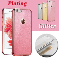 Wholesale Rubber Iphone 5s Covers Clear - Plating Glitter Electroplating Ultra Slim Clear Crystal Rubber TPU Soft Case Cover For iPhone 8 7 Plus 6 6S 5S 5 Samsung S8 S7 Edge Note 5