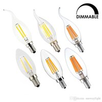 Wholesale 2w E12 Led Candle Bulb - Dimmable LED Filament Candle Light Bulb 2W 4W 6W E14 E12 Led Bulbs Light High Bright Clear Glass C35 Led Lamp