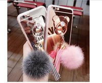 Wholesale Iph Covers - Lady and Girl Luxury Fur Ball Tassels Mirror Cover Bear Finger Ring Buckle Soft Phone Case Handmade for iphone5 5S 6 6Plus 6s 6 plus SE Iph