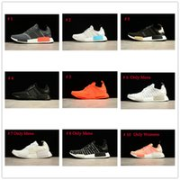 Wholesale Running Sun - SALE SALE SALE NMD Runner Shoes Black Gold Solar Red Sun Glow NMDs R1 FTWR Mens Womens Running Sneakers Size EU36-45 Top Quality Real Boost
