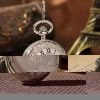 Wholesale-Elegant Pocket Watch Royal Boutique Ambiance Alchimiste Fob Montres Silver Color Steampunk Avec Chaîne 2 Côtés Open Case PW113