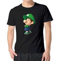 Wholesale Mario Baby - MAGGO Cartoon Poster Baby Mario And Luigi T Shirts Mens