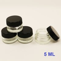 Wholesale Wholesale Glass Food Storage - small glass storage jars 5ml custom transparent cylindrical glass container tempered pyrex dab wax glass food containerjar with plastic lid