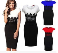 New Fashion Womens Empire Abnehmen Business Vintage Häkeln Spitze O-Neck Bodycon Fitted Shift Party Bleistift Midi Kleid