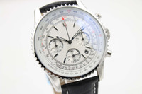 Wholesale Navitimer Strap - Hot Sale Luxury Swiss Brand Watches Chronometre NAVITIMER Quartz Chronograph Watch Mens Cassic Wristwatch White Dial Leather Strap