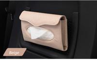 Wholesale Tissue Box Cream - Wholesale- Cream Beige Hanging up Car Sun Visor Tissue Box Holder Auto Accessories Paper Napkin PU Leather Storage for traveling