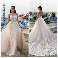 Wholesale Tulle Detachable Wedding Dress - Luxury Applique Mermaid Wedding Dresses Champagne Sheer Jewel Neck Court Train Bridal Gowns Milla Nova Detachable Overskirts Wedding Dress