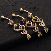 Wholesale Heart Shaped Belly Button Rings - Women sex gothic belly rings stainless steel europen fashion heart-shaped piercing belly button rings body jewelry