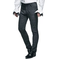 Wholesale Mens Punk Trousers - Wholesale- Steampunk Mens Winter Victorian Pants 2016 Gothic Punk Black Long Pants New Arrivals Man Fitted Straight Trousers With Zipper
