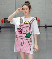 Wholesale Casual Pregnancy Style - Maternity style cartoon printing loose T-shirt pregnant women plus size high-low casual shirt pregnancy fashion tops tees