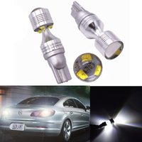 Wholesale w5w cree led - T10 LED w5w 30W 2 Floor lens with cree chips 194 168 W5W 6SMD Car Auto License Plate Wedge Light Bulb Lamp White 12V