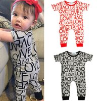 Wholesale Love Cute Baby Boy - INS Baby Cute Jumpsuit Love Letter Toddler Summer Short Sleeve Romper Fashion Soft Boy Girl Clothing