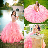 Wholesale Sweetheart Princess Prom Dresses - Gorgeous Pink Princess 2016 Quinceanera Dresses Ball Gown Sweetheart Embroidery Beaded 2017 Custom Made Prom Gowns Organza Tiered Cheap