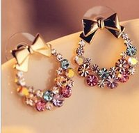 Hot Pop Exquisite Retro Bow bowknot boucles d'oreilles Full Rhinestone Flower Earrings Stud bijoux pour femmes Vente en gros