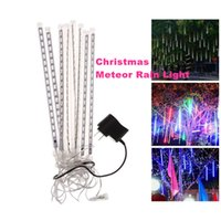 Wholesale Led Raining Christmas Lights - Wholesale Meteor Christmas lights Outdoor decoration waterproof Blue White RGB Snowfall Rain LED Shower Light Tubes EU US UK AU Plug