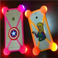 Wholesale universal 3d silicone case - Universal 3D Cartoon LED Lamp Bumper Case Luminous Soft Silicone Anti-shock Cases Cover For iiPhone 7 7 plus 6 6s plus Samsung s8 s8 plus s7