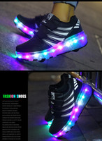 Wholesale Roller Skates Junior - New Led shoes girls kids Glowing Roller Skate One Two With Wheels Lights up Junior Boy Girls Athletic Shoes sports