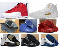 Wholesale Box Sport - High Quality Retro 12 Basketball Shoes Men Women 12s OVO White Gym Red Taxi Blue Suede Flu Game Sports Sneakers With Shoes Box