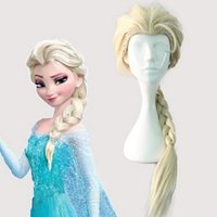Wholesale Wig Supplies Free Shipping - Adult Kids Elsa Anna Cosplay Hair Wigs Party Supplies 70cm 60cm Free Shipping