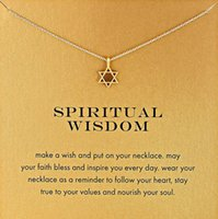 Bohemian spiritual cards - With card Silver and gold color cute Dogeared Necklace with star pedant spiritual wisdom no fade and high quality